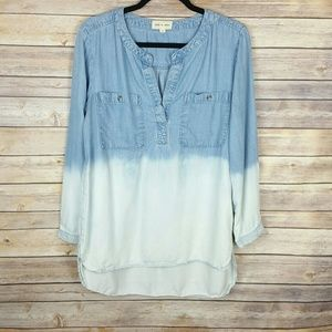 Anthro Cloth & Stone Dip Dyed Chambray Top Sz M